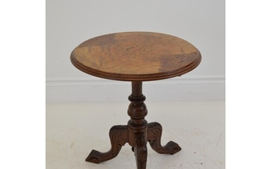 Victorian walnut marquetry inlaid circular occasional table ...