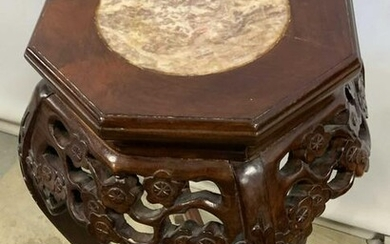 Vintage Marble Top Carved Wooden Plant Stand