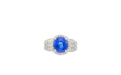 White Gold, Sapphire and Diamond Ring