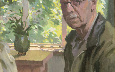 """William John Leech RHA ROI (1881-1968) Self Portrait with Window and Table Oil on board, 50 x 38cm (19¾ x 15'') Signed Provenance: Taylor Label on back. Listed as No.5 """"Self-portrait with window and..."""