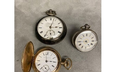 Yellow metal gilt silver watch, pear case ladies French silv...