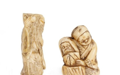 †TWO MEIJI PERIOD JAPANESE CARVED IVORY NETSUKES one