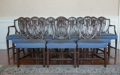 (12) HEPPLEWHITE STYLE SHIELD BACK DINING CHAIRS