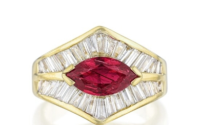 1.50-Carat Marquise-Cut Ruby and Diamond Ring
