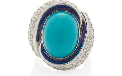 18K WHITE GOLD, TURQUOISE AND DIAMOND RING, ITALY