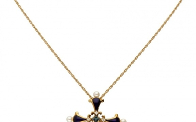 18K. Yellow gold necklace with 'The Sapphire Midnight Cross' pendant from the House of Igor...