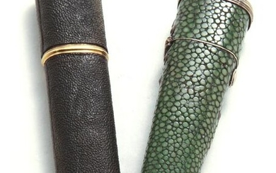 (2) Antique shagreen covered cases