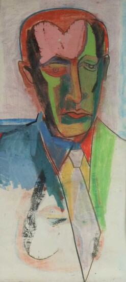 20th Century Expressionist Portrait of a Man wearing Suit and Tie