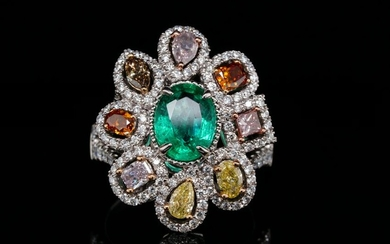 2.25ctw Diamond, 1.60ct Emerald & 14K Ring