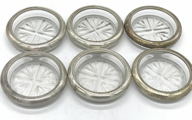 6 Vntg FB ROGERS STERLING SILVER Glass Coasters