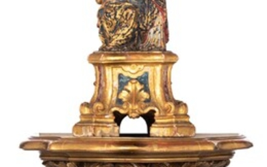 A Baroque Saint Anne with the Virgin, on a Rococo console, 18thC, H 41 - 87 cm