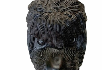 A CARVED WOOD TOBACCO BOX FORMED AS A DOGS HEAD Set with gla...