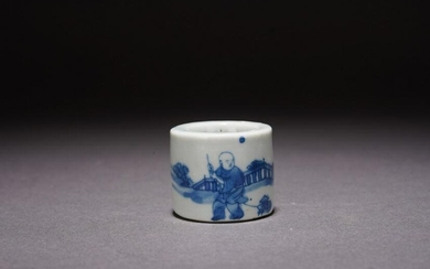 A CHINESE BLUE AND WHITE 'BOY' ARCHER'S RING