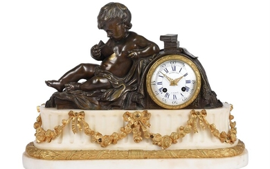 A FRENCH NAPOLEON III PATINATED BRONZE AND ORMOLU MOUNTED WHITE MARBLE FIGURAL MANTEL CLOCK