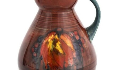 A MOORCROFT OVOID TAPERING JUG WITH OGEE NECK deco