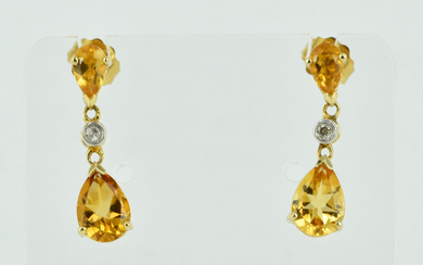 A PAIR OF 14CT GOLD, CITRINE AND DIAMOND EARRINGS