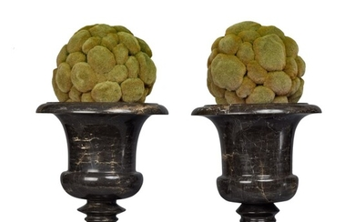 A Pair of Grey Marble Campana Urns , Late 19th / Early 20th Century