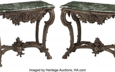 A Pair of Italian Carved and Silvered Wood Conso