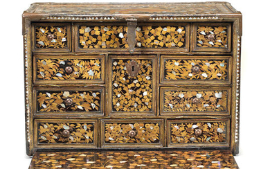 A RARE GILT-COPPER-MOUNTED SHELL-INLAID NANBAN LACQUER CABINET