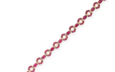 A RUBY BRACELET in 14ct yellow gold, designed as an