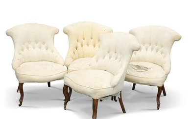 A SET OF FOUR VICTORIAN WALNUT AND UPHOLSTERED SALON CHAIRS,...