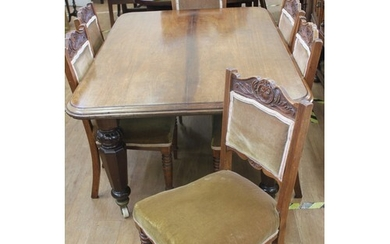 A Victorian mahogany dining table, with rounded corners, on ...
