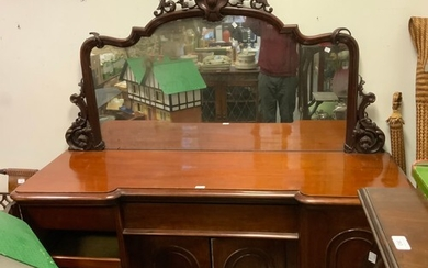 A Victorian mahogany large chiffonier or sideboard, shaped m...