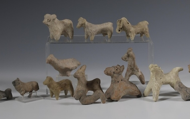 A collection of fourteen various terracotta animal figures, some of Near Eastern antiquties, ca. 2nd...