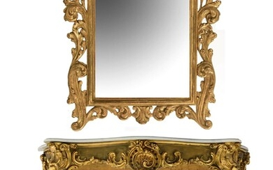 A gilt Rococo style console table, with a matching mirror, H 83 - 102 cm