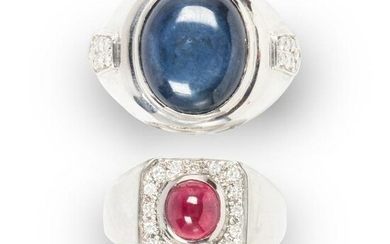 A group of gemstone and fourteen karat white gold rings
