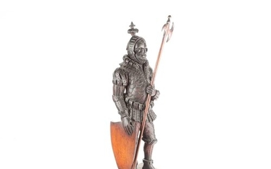 A large Black Forest carved oak figure of a knight, circa 19...