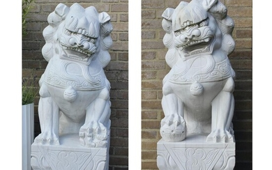 NOT SOLD. A pair of Chinese white marble temple lions. Ming style. Late 20th century. Total H. 120 cm. (2) – Bruun Rasmussen Auctioneers of Fine Art