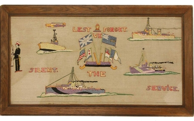 A pair of naval long stitch woolwork pictures