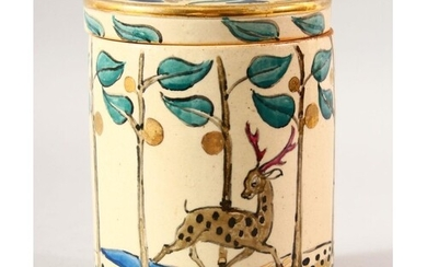 AN ISLAMIC DESIGN POTTERY JAR AND COVER, the jar painted wit...