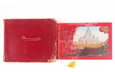 An early 20th-century gilt-tooled Morocco manuscript book, t...