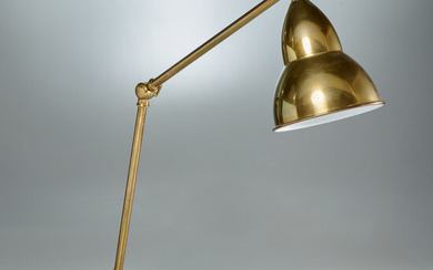 Articulated gold finish desk lamp