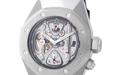 Audemars Piguet. Extremely Rare 150 Pieces Limited Edition, Semi-Skeletonized Tourbillon Oversized Royal Oak Concept Wristwatch in Alacrite, Reference 25980AI, With Extract from the Archives.