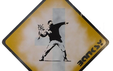BANKSY (MANNER OF/ ATTRIBUTED): FLOWER THROWER