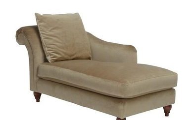 Baker Gold Chenille Chaise Lounge Chair.