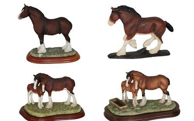 Border Fine Arts Heavy Horse Models Including; 'Spring Pastures' (Clydesdale...