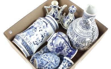 (-), Box of various Dutch pottery with blue...