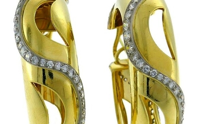 CARTIER Diamond Yellow Gold Hoop EARRINGS Authentic