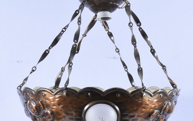CEILING LAMP, glass and copper, Art Nouveau, first half of the 20th century.