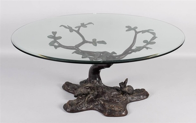CONTEMPORARY BRONZE PATINATED METAL TREE FORM COFFEE TABLE