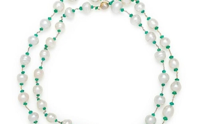 CULTURED BAROQUE PEARL AND EMERALD LONGCHAIN NECKLACE