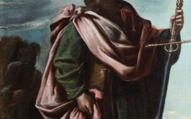 """Circle of VICENTE CARDUCHO (Florence, 1576 or 1978 - Madrid, 1638). """"Saint Paul. Oil on..."""