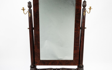 Classical Carved Mahogany Cheval Mirror