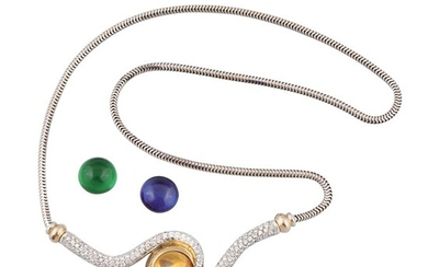 DIAMOND, SYNTHETIC GEM AND GOLD NECKLACE