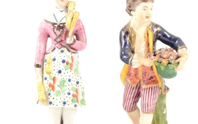 Derby figure of a boy gardener, and a Pearlware figure