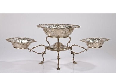 Edward VII silver table centrepiece, Sheffield 1904, maker T...